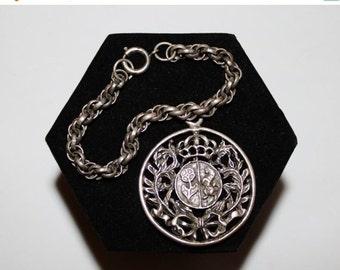 HUGE DISCOUNT 35% OFF 1960s Huge Gothic Coat of Arms Charm Bracelet