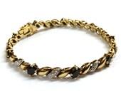 Vintage Gold Saphire Vermeil Sterling Silver Tennis Bracelet