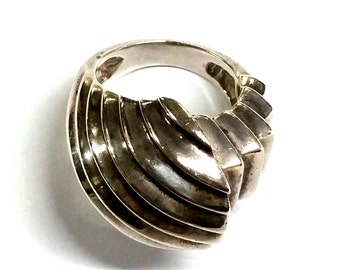Modern Chunky Sterling Silver Ring Size 5 1/2