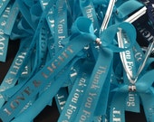 Already bowed Personalized Ribbon For Party Favors , Custom favor ribbons, baby shower favors, wedding favors, baptism favors