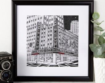 Personalised Radio City Print - Radio City Illustration - Radio City Print - New York Print - New York Art - Drawing of New York
