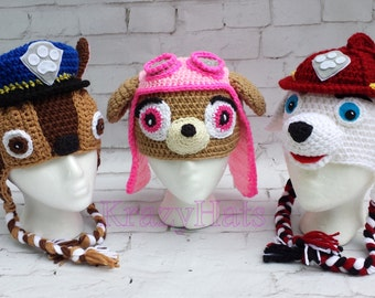 Crochet dog hat.Police ,Firefiter,girl dog hat.