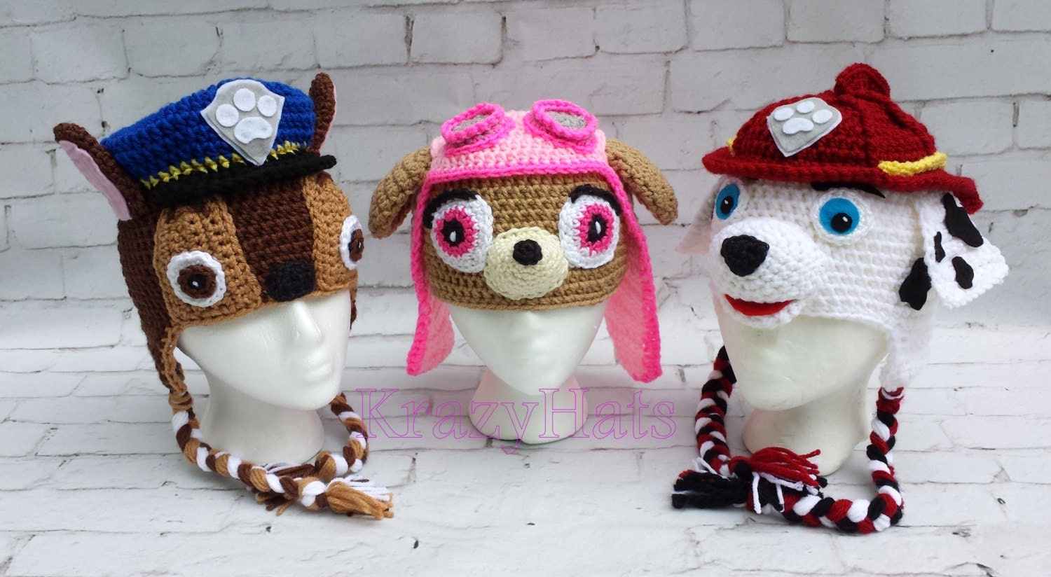 Crochet Hat Pattern Paw Patrol : Crochet dog hat.Police Firefitergirl dog hat.