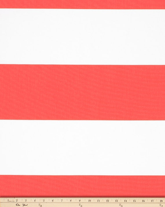 Coral White Horizontal Stripe Curtains - Cabana Grommet Top - 84 96 ...