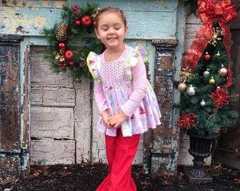 Christmas outfit • Girls Set • Ruffle shirt • ruffle pants • boutique style • size 2T-10