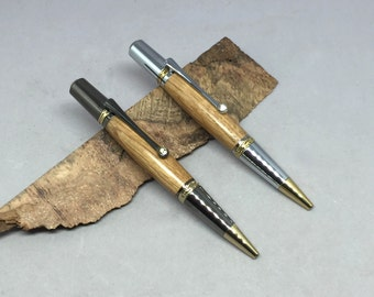 Makers Mark Bourbon Oak Majestic Squire Pen with two hardware choices -- made from a real Bourbon Barrel of Makers Mark