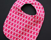 Hot Pink Ovals Baby Bib Ready to Ship
