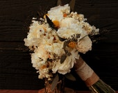 Cream Hydrangea and Sola Flower Wedding Bouquet, Craspedia Bridal Bouquet, Dried Flower Brides Bouquet, Sola Flower Bouquet with Hydrangea