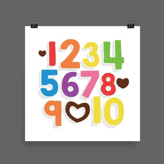 I LOVE YOU (Rainbow Bold) Numbers Poster Print - Nursery, Kids Room, Wall Art Modern