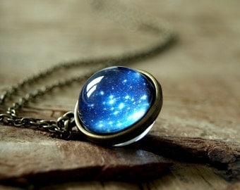 Stars necklace, Star night  pendant, Globe necklace,space necklace, glass dome necklace, Navy blue galaxy necklace, Night sky necklace, gift