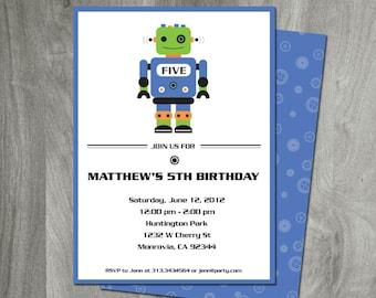 Robot Invitation, Robot Birthday Party Printable, Digital File, Custom, Personalized, Double Sided, Boy Birthday, Sci-fi Invitation