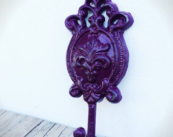 BOLD eggplant purple shabby chic oval floral ornate wall hook // towel coat key hook // rustic vintage french country // victorian
