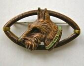 Scottie Dog unique Scottish Terrier brooch pin . Detailed . Leather trim Brass Frame  1930s-40s FDR era