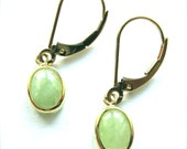 Solid 14K Yellow Gold  &  Jade Dangle Drop  Lever Back Earrings  marked 14K MEXICO