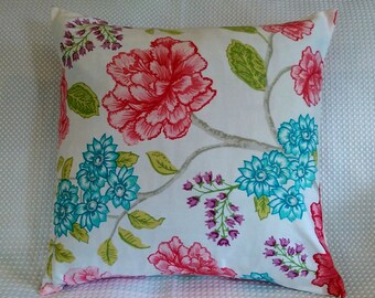 20% OFF SALE! Jacobean Floral on white Pillow Cover-20x20 teal and pink floral- 18x18 large pink flower Throw Pillows- FREE Shipping - peony