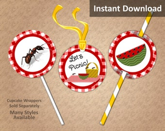 Crimson Red Gingham Picnic Cupcake Toppers, Favor Tags, Straw Flags, Instant Download, Cook Out, BBQ, Party Decorations