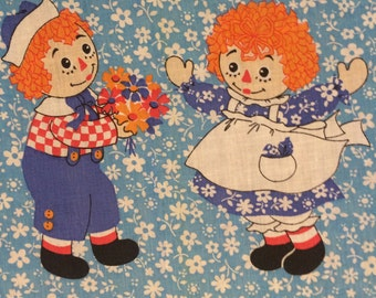 Raggedy Ann and Andy bedspread ragdoll ginger kids storybook characters vintage fabric