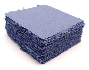Denim blue 5x5 handmade recycled cotton papers, deckle edge, 10 sheets