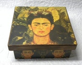 Hand crafted On Pinewood Frida Kahlo Self-Portrait With Thorn Necklace (1940) Keepsake Decoupage on Pinewood Jewelry Tea Chocolate Box