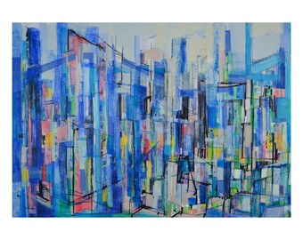 Art print of colorful light blue modern abstract landscape, giclee print of original painting by Janice Reuland, 8 x 10, 11 x 14, 16 x 20