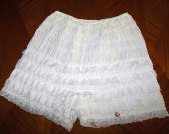 VINTAGE White Ruffle Lace Square Dance PETTIPANTS Lingerie Bloomer Rhumba Pants XL Burlesque Edwardian Victorian Pin Up Diva Sissy Cosplay
