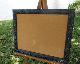 Vintage Black Ornate Frame Cork Board - Cork Board - Pin Board -Vintage Black Frame Bulletin Board - Wedding Corkboard - Bulletin Board