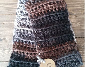 Crocheted Infinity Scarf in Blacks, Grays, and Browns