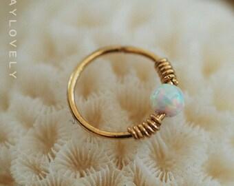 Opal Cartilage hoop Earring, opal triages, white/ blue/pink opal helix hoop, opal nose hoop, tiny small opal hoop earring, silver tiny hoop