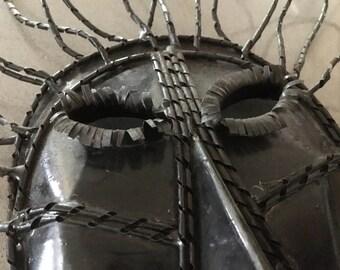 Hatian Ethnic Drum Metal Mask primitive Minimalist African