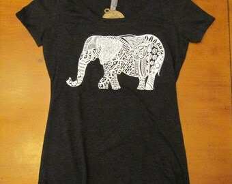 Elephant T-Shirt, Elephant Gift, Elephant Art, Clothing, Art Tees, Short Sleeve Shirt, Scoop Neck Tee, Ladies T-Shirts, Graphic T-Shirt