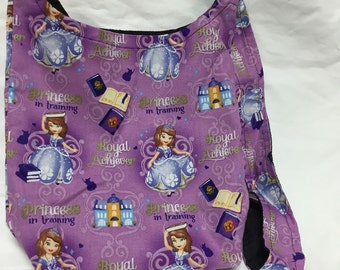 Mini Princess in training Print Hobo REVERSIBLE CrossBody Bag / purse