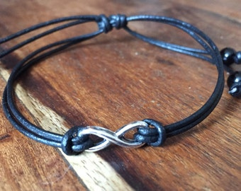 Silver Infinity leather bracelet