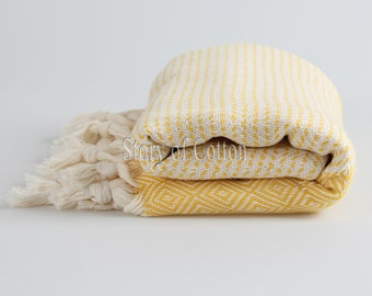 100% Cotton Hamam Towel Beach Towel Hammam Peshtemal Turkish Towel Sarong Spa Sauna Beach Fouta Towel Yellow