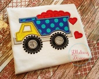 Valentines Day Dump Truck Boy's custom shirt