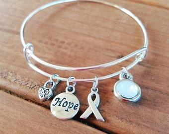 Lung Cancer Awareness Silvertone Expandable Charm Bracelet