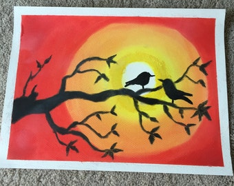 Love birds and Sunset