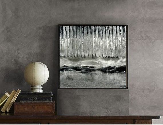 Epoxy Painting Canvas : Grayscale abstract epoxy resin painting on canvas x