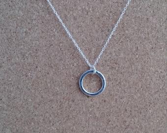 Hoop Necklace, Hoop Jewelry, Sterling Silver Hoop, Eternity Pendant