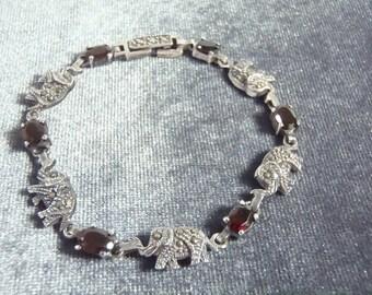 Sterling Silver Garnet Marcasite Elephant Bracelet B16
