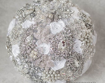 10''  Crystal wedding brooch bouquet, Jeweled Bouquet. Ready to ship