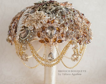 READY TO SHIP 8'' Brooch bouquet. Gold, Bronze Gold and Champagne crystal wedding brooch bouquet, Jeweled Bouquet.