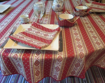 "Round cotton tablecloth .40 to 60"" diameter.Bistro tablecloth. Fabric from Provence . Esterel terracotta.Matching  napkins available."
