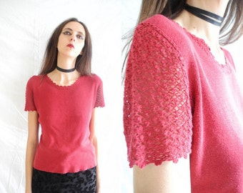 90's Laura Ashley grunge dark red crochet sleeve knit top.