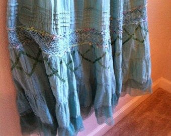 Fairy Green Gypsy Skirt With Lace And Ribbons