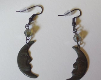 Man-In-The-Moon Earrings - Black Patinaed With Iridescent Vintage Glass Beads