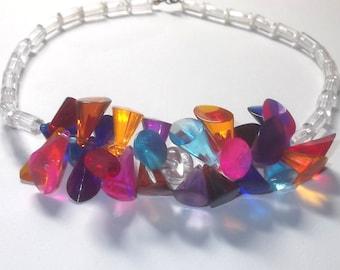 SALE Vintage Colorful Lucite Prism Bib Necklace, Art Deco Bright Cone Necklace