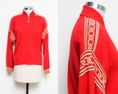 St. John Cardigan // Red Zippered Jacket // 80s 90s Gold Metallic Chain Detail Long Sleeve Designer Marie Gray Knit Sweater Size Small