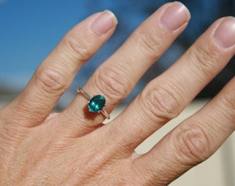 Blue Apatite Ring Oval Solitaire Engagement Ring Promise Ring Size 6 Dark Paraiba Color