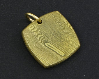 Pendant in steel and gold 18KT Damascus - Made in Italy