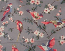 "Cath Kidston Canvas fabric. 1/2m. British Birds on Mid Grey. Heavy Bag Making, Home-wares Cotton. 142cm wide. (19"" x 55"")"